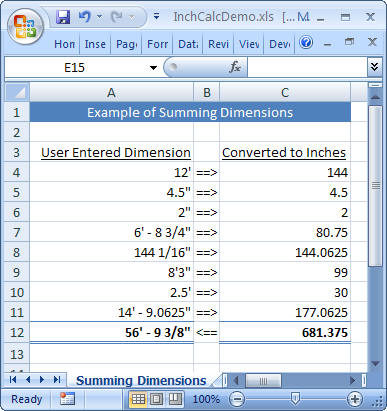 Inchcalc add in for excel for How to add square feet